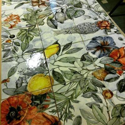 Керамическое панно ручной работы Ботаника