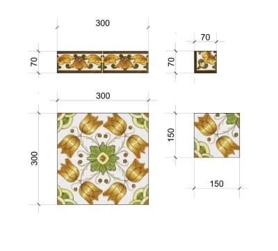 Размеры плиток для облицовки Медитеранской серии.