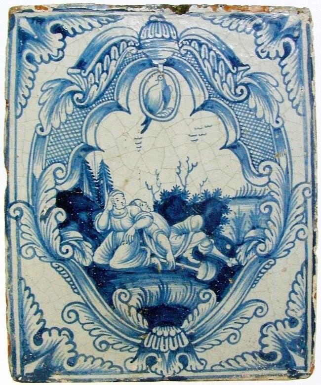 Печная кафля в голландском стиле сине-белой росписи. Вторая треть XVIII века. Москва