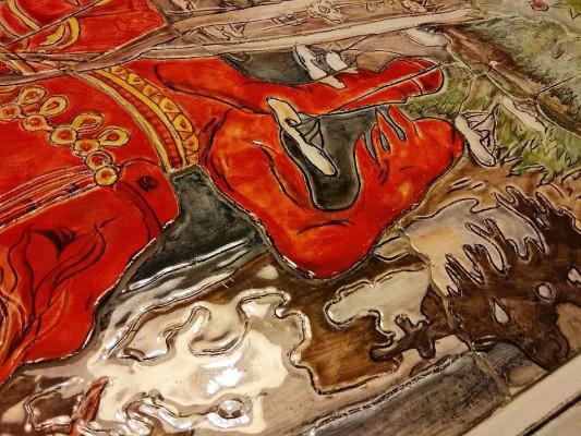 Керамическое панно ручной работы Красный всадник