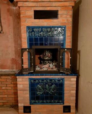 Банная печь с керамическим панно