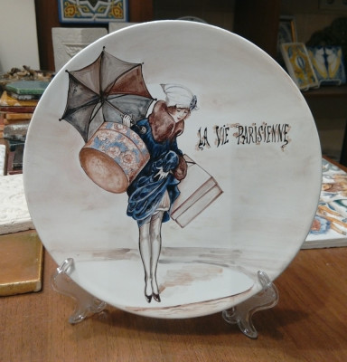 Тарелка Парижанки, ручная роспись