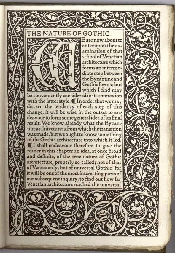 Природа готики, Джон Рескин, первая страница текста с орнаментом Уильяма Морриса