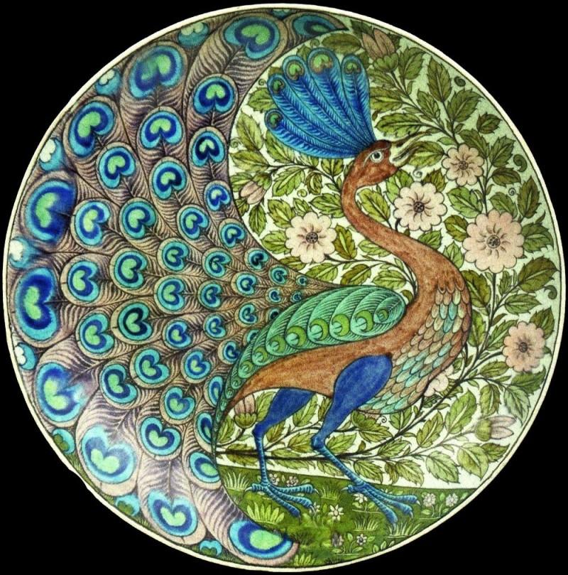 Тарелка с павлином Уильяма де Моргана