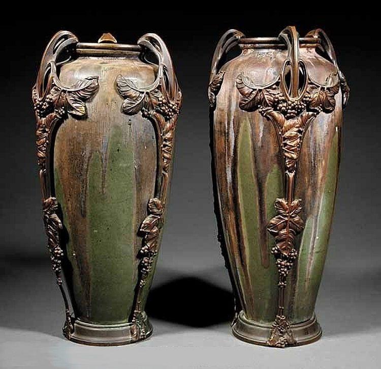 Керамические вазы с эффектом бронзы в стиле арнуво Пьера Гребера