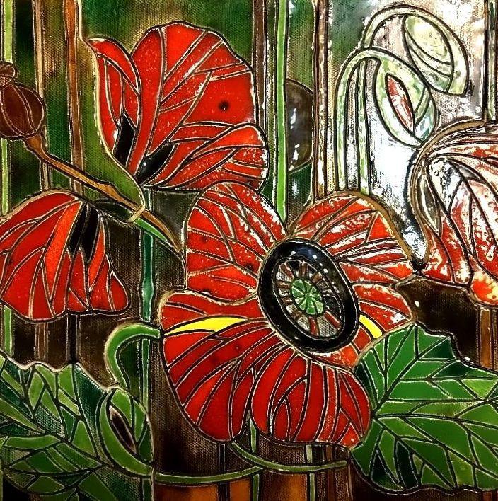 Керамическое панно Маки, собранное из крупноразмерной мозаики