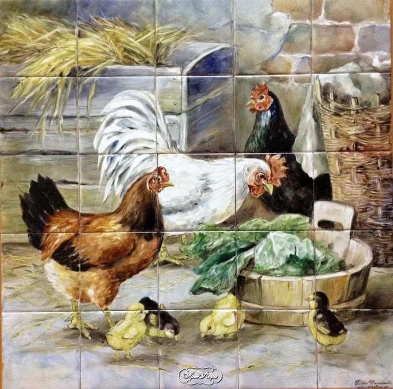 Керамическое панно с надглазурной росписью художника Флеры Даминовой