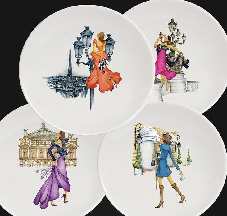 Коллекции тарелок художницы Вероники Латаст Le Paris de Madame и Divine фарфоровой мануфактуры Хавиленда