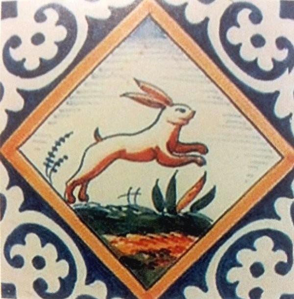 Изразец с сюжетом из Сада Животных Йоста ван ден Вондела. Делфт. 1620-1640 годы