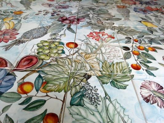 Ботаника, купить панно из керамической плитки ручной работы