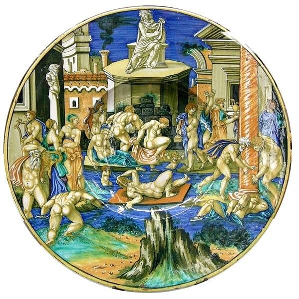 Франческо Ксанто Авелли До Ровиго, тарелка с наводнением реки Тибр, 1531 Замок Сфорца