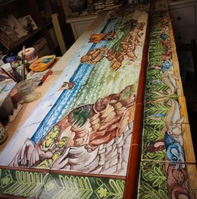 Керамическое панно на стену ручной работы Остров Буян