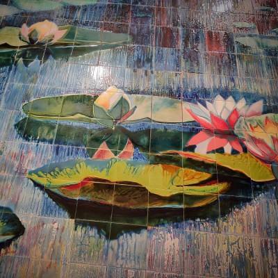 Фасадное керамическое панно с цветущей сакурой, Фасадная керамика