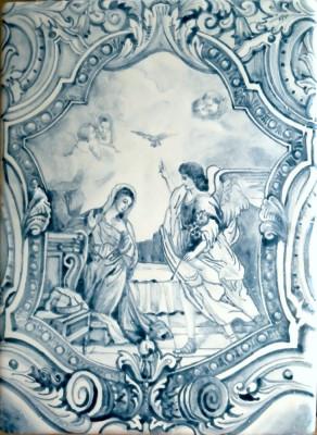 Изразцы Барокко, плитка для облиицовки печи, камина, керамическое панно