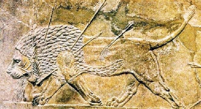 Царская охота, Рельеф Дворца Ашшурбанапала. Керамика