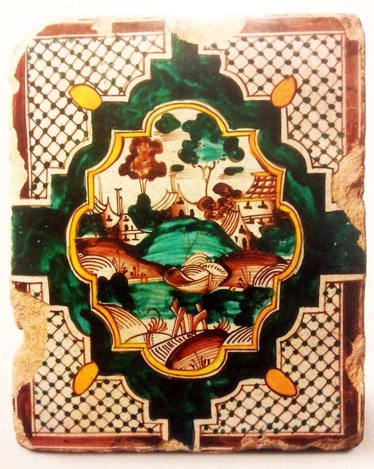 Стенной полихромный расписной изразец. Сюжетный орнамент. XVIII век