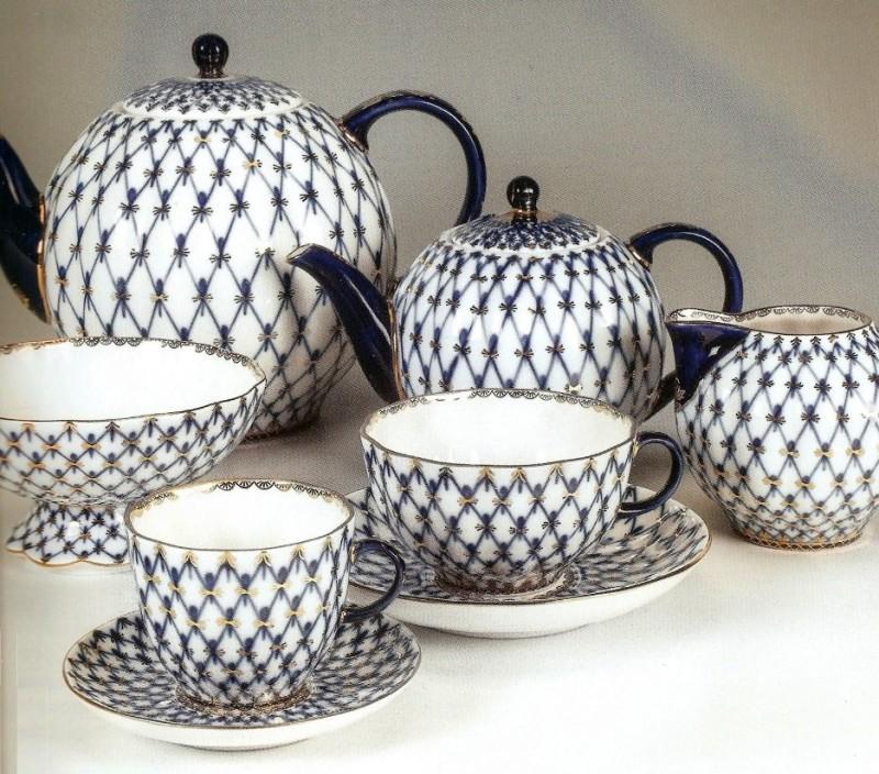 Сервиз чайный Тюльпан Кобальтовая сетка