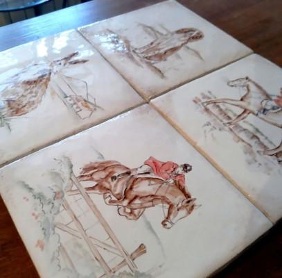 Изразцы Серии Охота, изразцовые плитки для облицовки печи, камина
