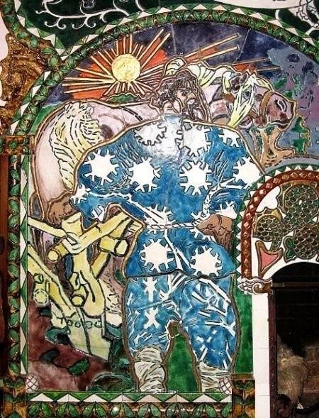 Деталь камина «Встреча Вольги с Микулой Селяниновичем» работы Врубеля