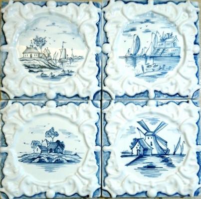 Изразец Виньетка, Керамическая плитка для облицовки печи или камина