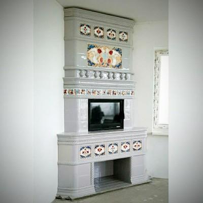 Изразцовый камин в неорусском стиле