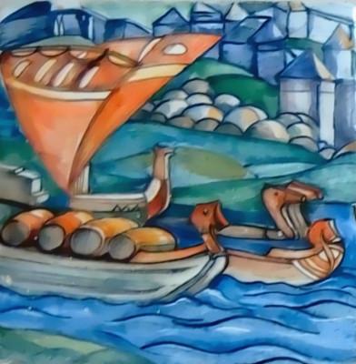 Керамическое панно ручной работы по мотивам картины Николая Рериха «Садко»