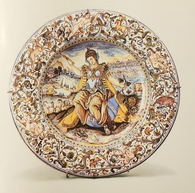 Тарелка с изображением Европы. Кастелли. Франческо Антонио Груэ. 1465 год.