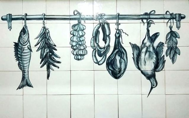 Панно из керамической плитки на кухню с дичью, для фартука кухни