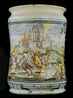 Большая ваза-албарелло с изображением Обращения Св. Павла Франческо Антонио Груэ