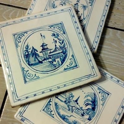 Изразцы Шинуазри, керамическая плитка ручной работы для облицовки, купить в Москве