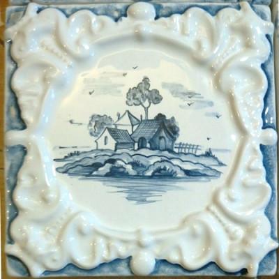 Изразец Виньетка, Керамическая плитка ручной работы для облицовки