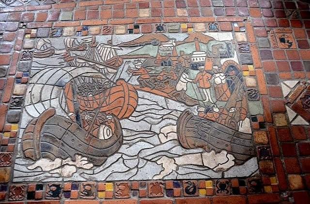 Плиточный пол в музее Moravian Pottery
