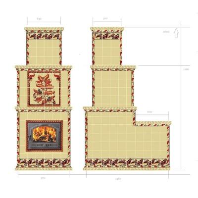 Эскиз печи с северными русскими орнаментами