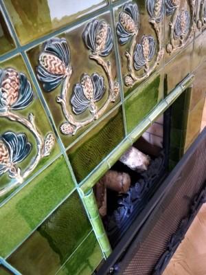 Купить изразцовый камин в стиле ар нуво (модерн, art nouveaux ), северный модерн