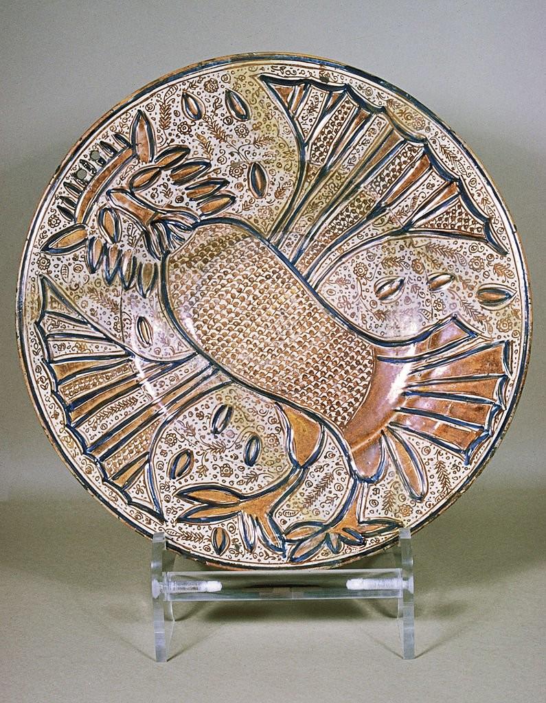 Керамическая люстрированная тарелка с совой в короне, 1535 год, Манисес