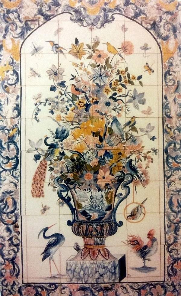 Панно для камина с вазоном цветов. Делфт. 1720 год