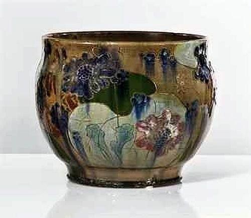 Керамическая ваза с шликерной росписью в японском стиле