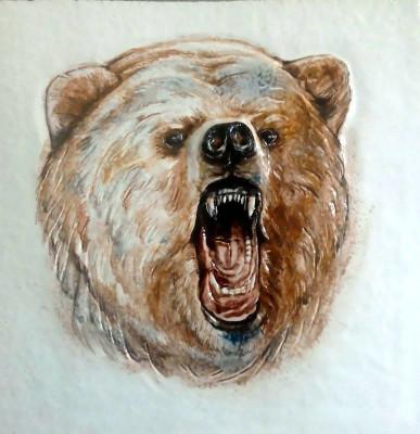 Керамические изразцы медведи. Облицовочная плитка ручной работы