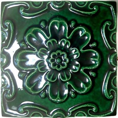 Керамические изразцы для облицовки печи или камина серии Ярославская розетка