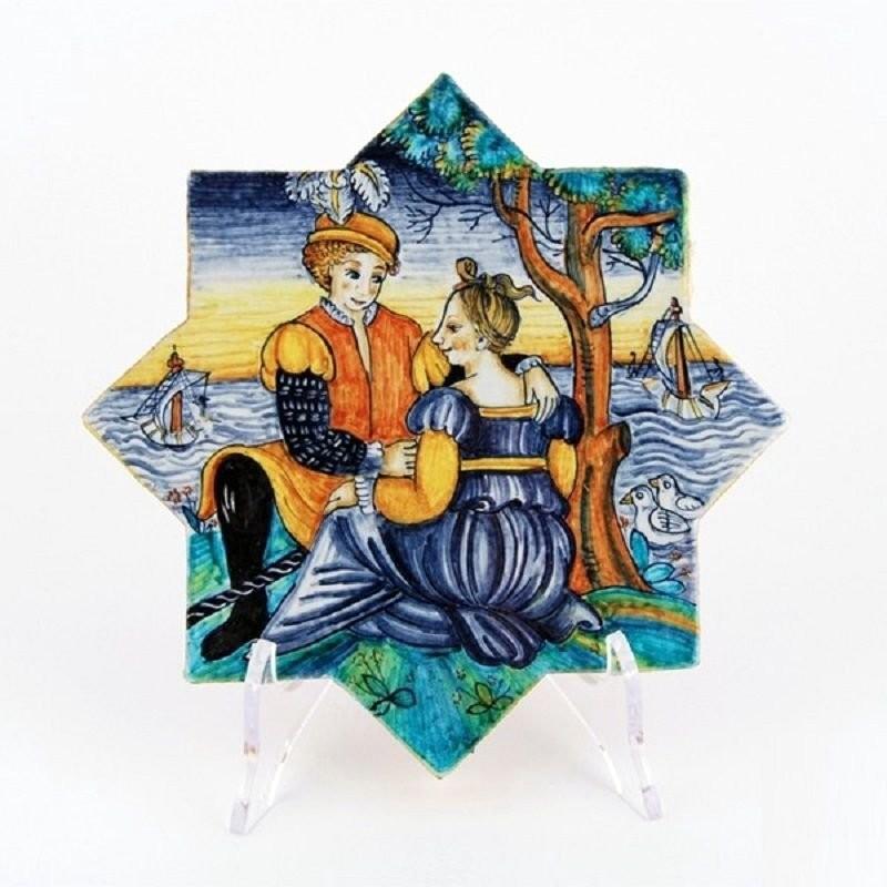Многогранная плитка в стиле istoriato Эпохи Возрождения