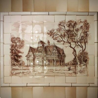 Купить керамическое панно на стену, на фартук кухни. Панно из керамической плитки Шале