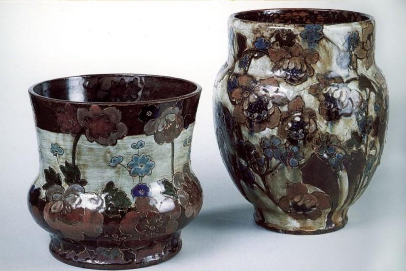 Керамическая ваза мастерской Эрнеста Шапле, дизайн Эдуарда Даммуза