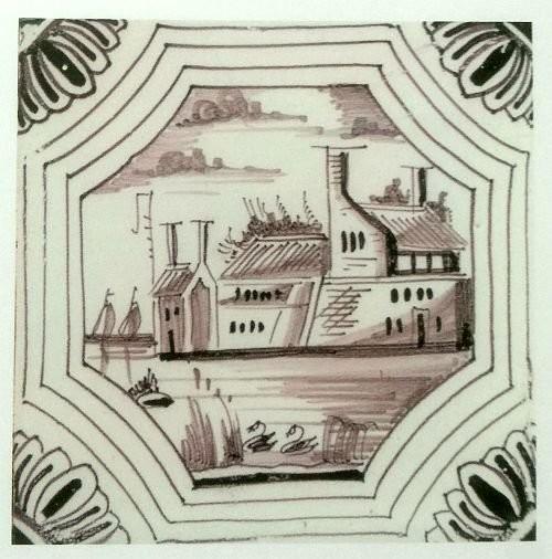 Изразец с пейзажем. Марганцевая глазурь. 1692 год