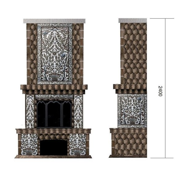 Эскиз камина в арабском стиле с применением шестигранных майоликовых плиток и живописных панно