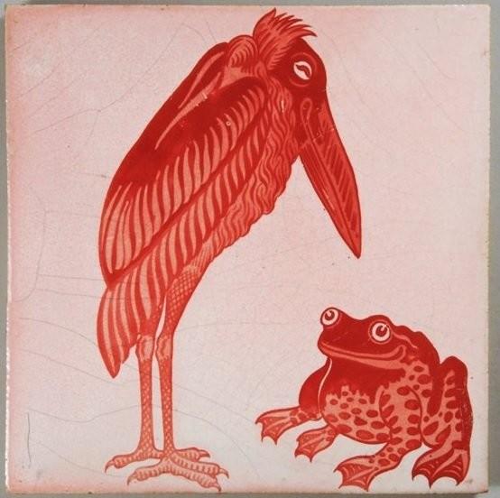 Изразец с цаплей и лягушкой Уильяма де Моргана