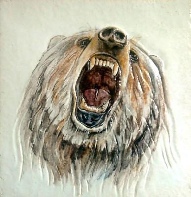 Керамические изразцы медведи. Облицовочная плитка для печей и каминов