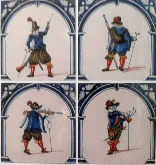Голландские изразцы с солдатами и всадниками. 1560-1648 годы
