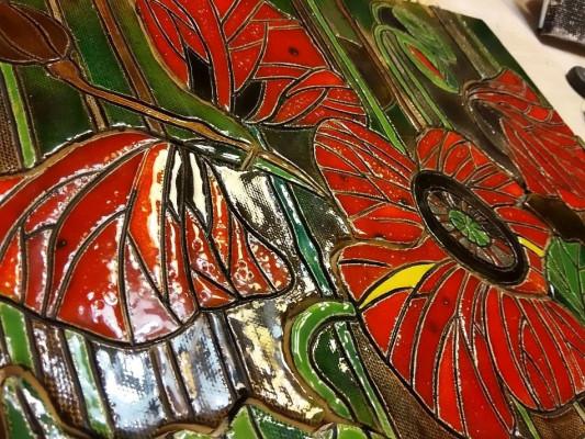 Керамическое мозаичное панно Маки