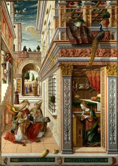 Карло Кривелли «Благовещение с Эмигдием в Асколи-Пичено». 1486 год. Лондонская национальная галерея