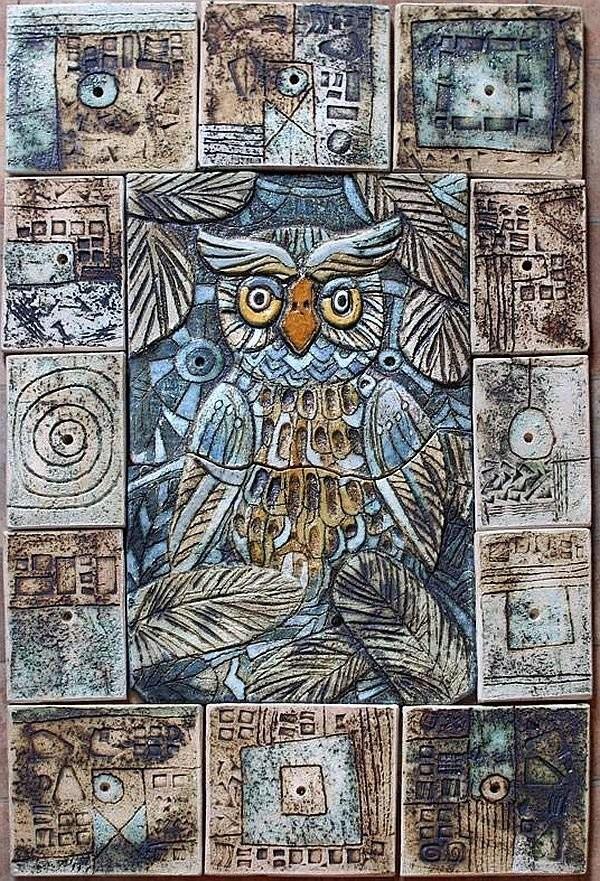 Керамическое панно художника Анны Куприяновой. Ангобы